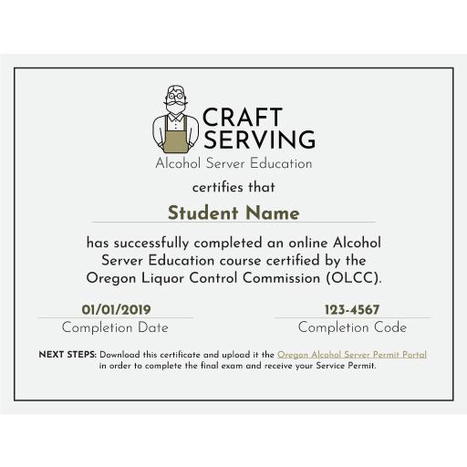 OLCC Server Permit Certificate